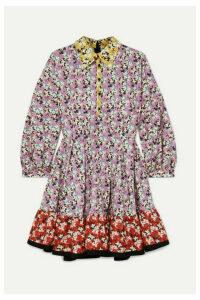 Valentino - Ruffled Floral-print Cotton-poplin Mini Dress - Red