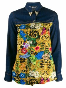 Versace Jeans Couture baroque-print denim shirt - Blue