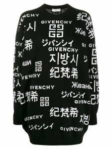 Givenchy oriental lettering logos oversized jumper - Black