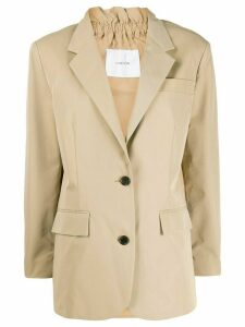 pushBUTTON single-breasted fitted blazer - NEUTRALS