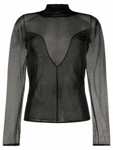 Olivier Theyskens long-sleeve sheer blouse - Black