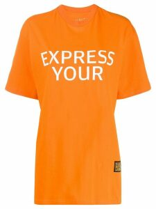 pushBUTTON slogan print T-shirt - ORANGE