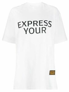 pushBUTTON slogan print relaxed T-shirt - White