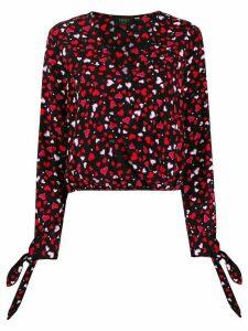 LIU JO heart print wrap blouse - Black