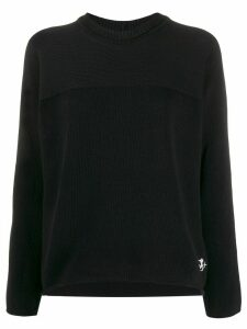 Jil Sander crew neck logo embroidered jumper - Black