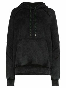 Ninety Percent washed-effect drawstring hoodie - Black