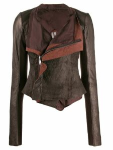 Rick Owens wrap front leather jacket - Brown