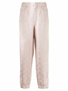 Forte Forte jacquard-print cropped trousers - PINK