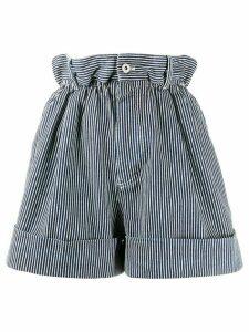 Miu Miu striped paperbag shorts - Blue