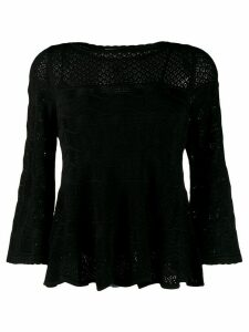 Twin-Set crocheted knit top - Black