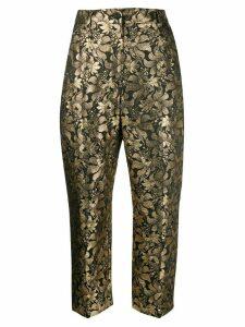 Dolce & Gabbana metallic effect floral print trousers - Black