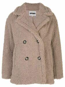 Apparis faux fur coat - NEUTRALS