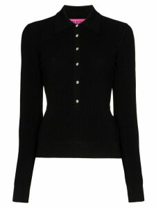 GAUGE81 Swarovski-embellished button polo top - Black