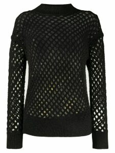 Fabiana Filippi long sleeve fishnet knit top - Grey