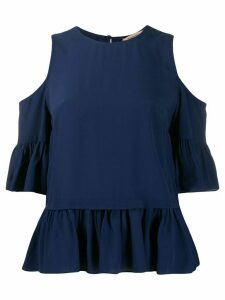Twin-Set ruffled cut-out blouse - Blue