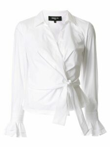 Paule Ka long-sleeve wrap blouse - White