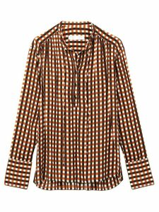 Proenza Schouler White Label Multicolor Gingham Georgette Long Sleeve
