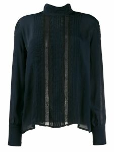 See by Chloé funnel neck lace panel blouse - Blue