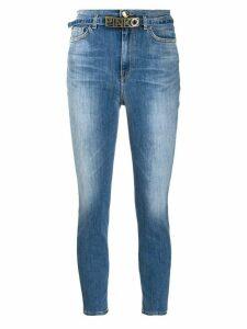 Pinko logo belt cropped skinny jeans - Blue