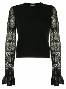 Alexander McQueen lace sleeves crewneck jumper - Black