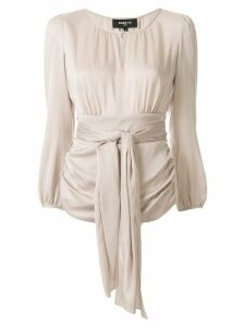 Paule Ka keyhole collar ruched detail blouse - NEUTRALS