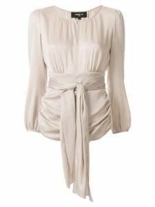 Paule Ka keyhole collar ruched detail blouse - NEUTRALS