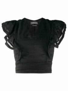 Isabel Marant Étoile ruffled sleeves fitted top - Black
