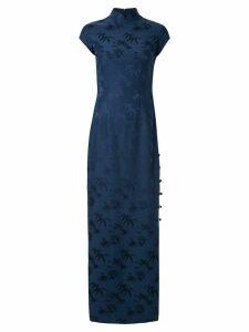 Shanghai Tang Bamboo jacquard long Qipao dress - Blue