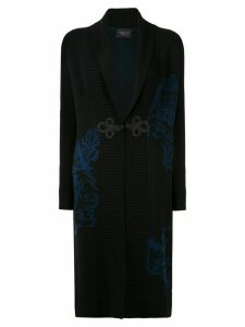 Shanghai Tang Chinoiseries intarsia long cardigan - Black