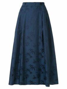 Shanghai Tang Bamboo jacquard flared maxi skirt - Blue