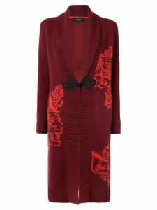 Shanghai Tang Chinoiseries intarsia knitted long cardigan - Red