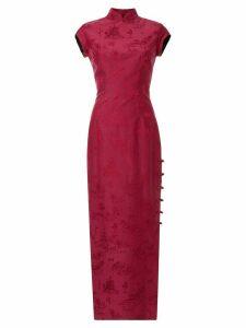 Shanghai Tang Chinoiserie jacquard long Qipao dress - PINK