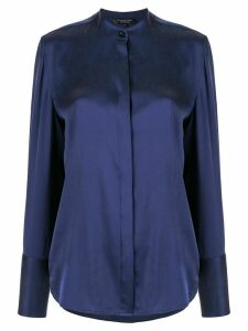 Shanghai Tang Jewel button sandwashed shirt - Blue