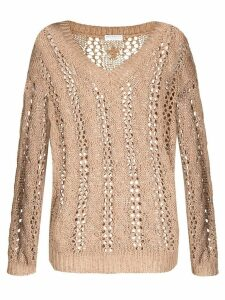 Brunello Cucinelli open-knit V-neck jumper - NEUTRALS