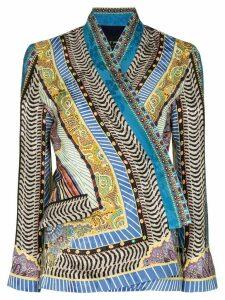Etro printed kimono sleeve blouse - Blue