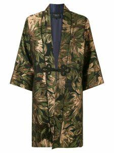 Shanghai Tang Floral jacquard kimono jacket - GOLD