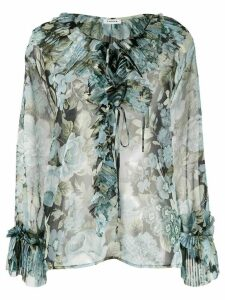 P.A.R.O.S.H. sheer floral printed blouse - Blue