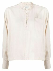 Forte Forte ruffle trimmed half buttoned shirt - White