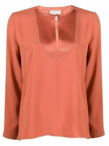 Forte Forte embellished bib blouse - ORANGE