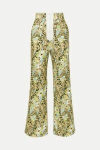 Miu Miu - Printed High-rise Wide-leg Jeans - Green