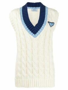 Prada sleeveless logo jumper - NEUTRALS