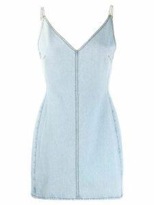 David Koma rhinestone strap denim dress - Blue