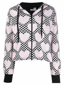 Love Moschino check heart print zipped hoodie - PINK