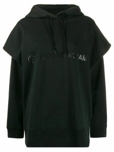 Mm6 Maison Margiela double sleeve logo hoodie - Black