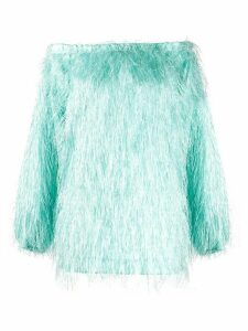 Rotate off-shoulder fake-feather top - Blue