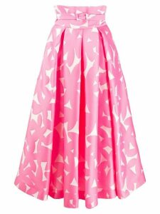 Sara Battaglia floral print belted skirt - PINK