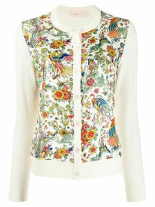 Tory Burch floral panel knitted cardigan - NEUTRALS