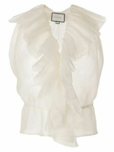Alexis ruffled sleeveless top - White