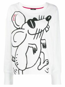 Diesel mouse print crew neck sweatshirt - White