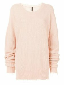 Unravel Project distressed ribbed jumper - PINK